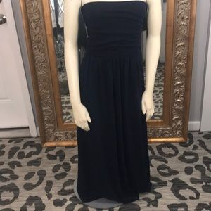 Navy blue strapless maxi with pockets small